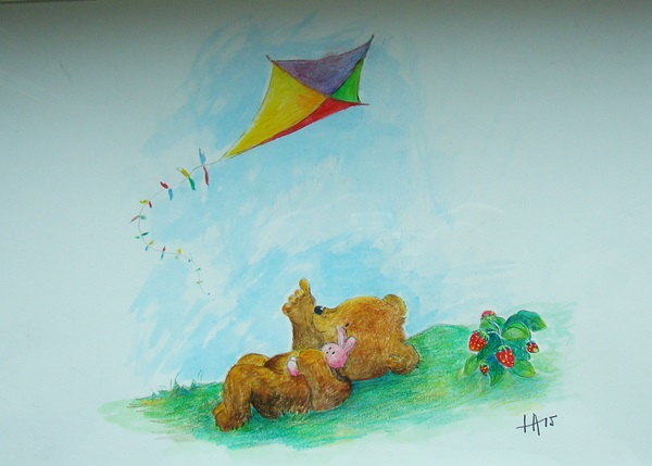 Bear and bunny with kite