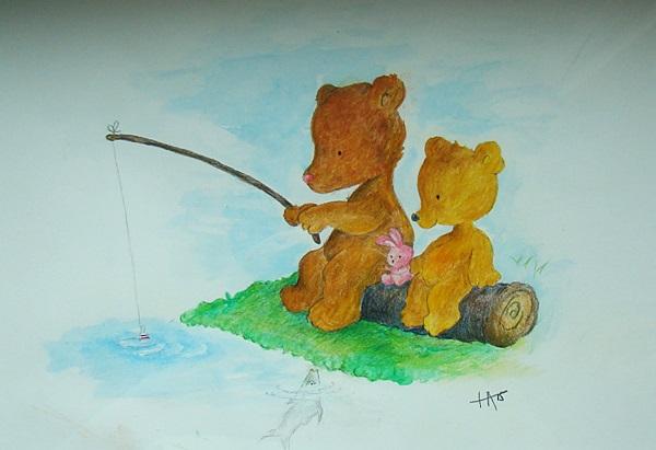 Bears at a stream