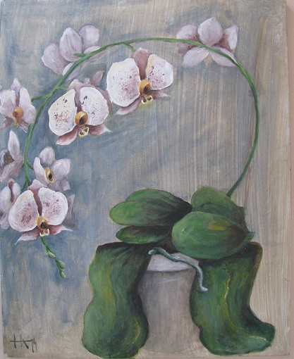 Orchid painting with acrylic