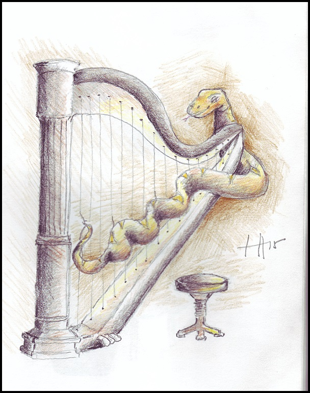 Harp player in the 100-member Kitty Band