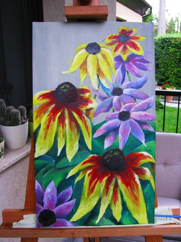 Coneflowers and echinacea with acrilyc paints.