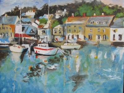cornish harbour acrylic