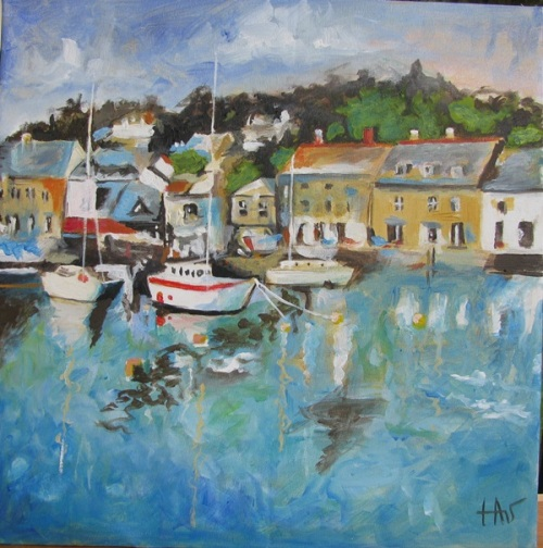 cornish harbour acrylic