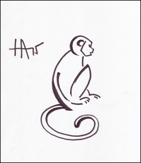 monkey zodiac drawing