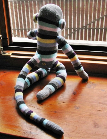 sock monkey back