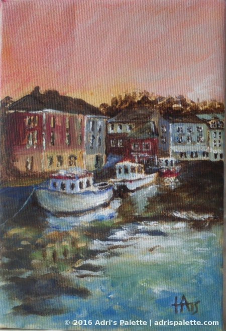 padstow harbor acrylic painting