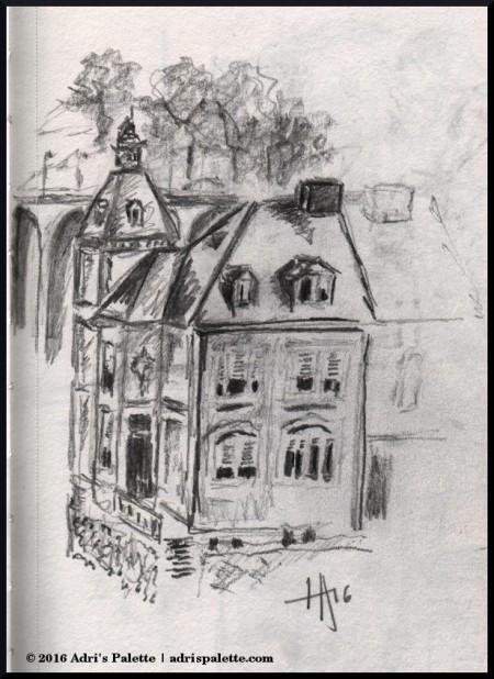 house adn bridge sketch