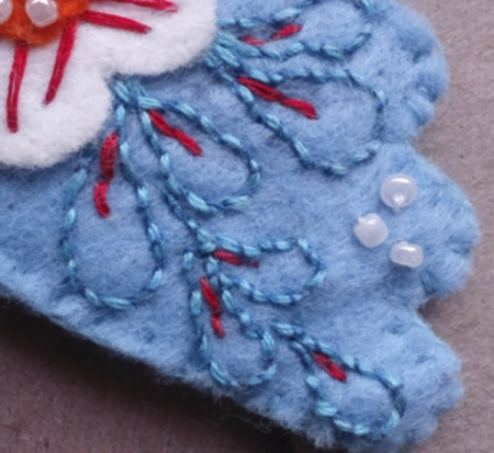 felt bird wing embroidery