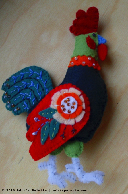 rooster felt embroidery
