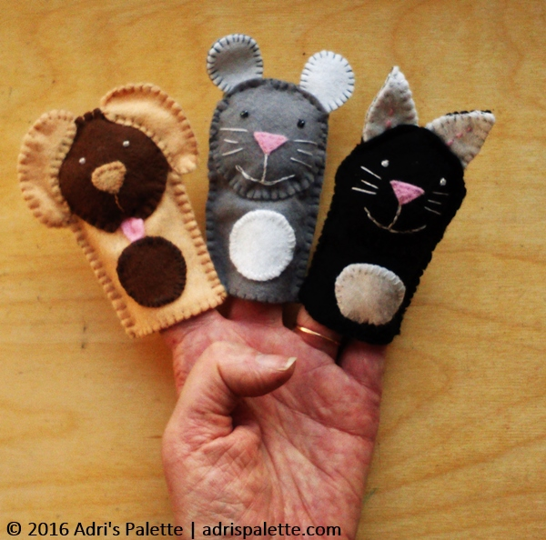 dog cat mouse finger puppet