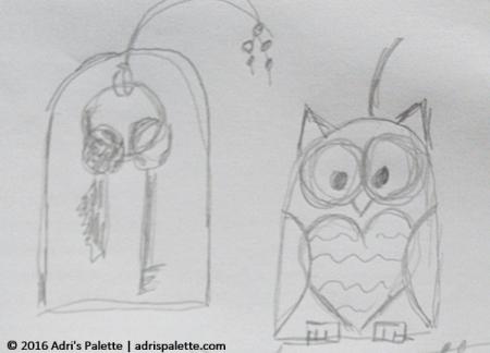 owl keyholder sketch