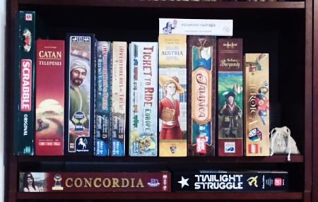 boardgames on shelf