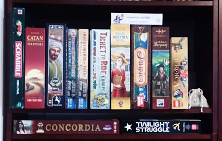 boardgames on shelf