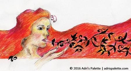 Woman whispering detail