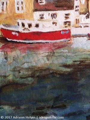 Padstow harbor with yellow ship - detail with red ship